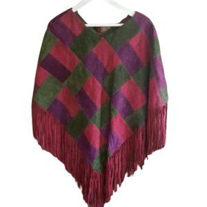 Vintage multicolor suede cape poncho with fringe